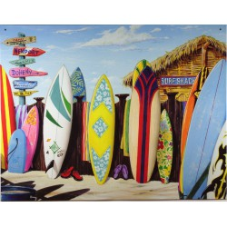 plaque  planche de surf  et cabane surf shack sur la plage deco mer bar snack