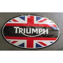 grosse plaque emaillée  moto triumph union jack drapeau anglais bombé 50cm tole