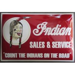 grosse plaque emaillée  moto indian sales & services bombé 60x40 cm tole