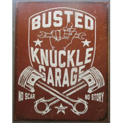 plaque busted knuckle garage marron pistons croisés tole publicitaire deco  usa