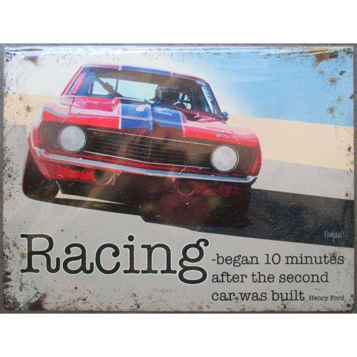 plaque racing 10 minutes muscle car rouge tole deco garage usa loft
