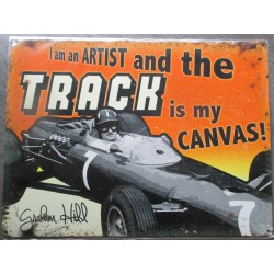 plaque track voiture de course  tole deco metal  garage usa loft