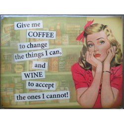 plaque pin up give me coffee or wine tole deco cuisine usa loft