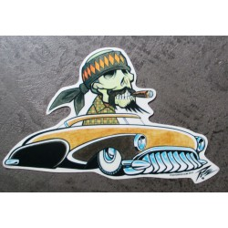 sticker buick 1950 marron et mexicain moustachu autocollant kustom kulture pigors