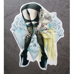 sticker blonde sexy qui montre ses fesses hot girl autocollant kustom kulture pigors