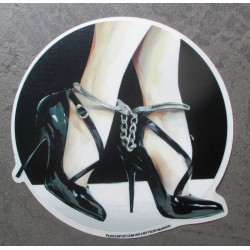 sticker menotte et chaussure sexy fetish pied autocollant rock roll drole