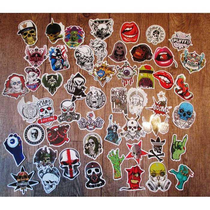 lot de 50 stickers crane  tete de mort autocollant fond blanc pirate biker