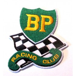 patch bp racing club 7.5x6.5cm écusson  thermocollant garage veste chemise