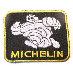 patch michelin rectangulaire bleu jaune  pneu écusson  garage veste chemise