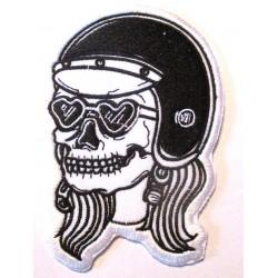 patch crane casque femme tete de mort écusson veste blouson rock roll