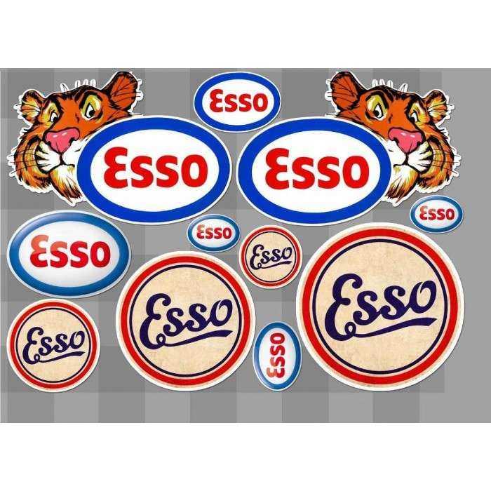 1 planche de stickers esso motor oil huile essence decoration auto moto rallye