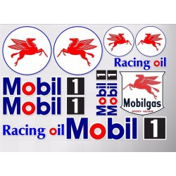 1 planche de stickers mobil 1 racing oil huile essence decoration auto moto rallye