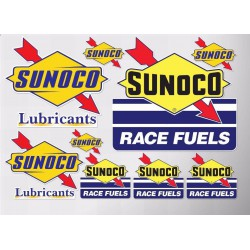 1 planche de stickers sunoco fleche oil huile essence decoration auto moto rallye
