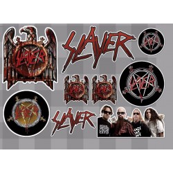 1 planche de stickers groupe hard rock slayer decoration auto moto fan musique