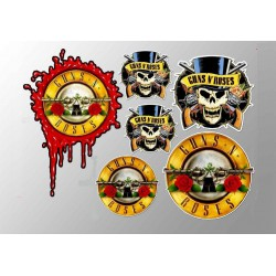 1 planche de stickers groupe de rock roll guns & rosesdecoration auto moto fan musique