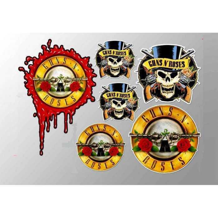 1 planche de stickers groupe de rock roll guns & rosesdecoration auto moto fan musique