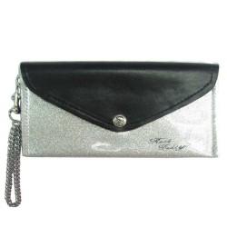 portefeuille femme pochette simili noir et gris a paillette + chaine
