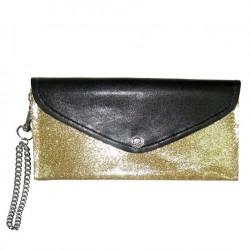 portefeuille femme pochette simili noir et doré a paillette + chaine