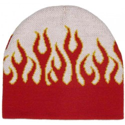 bonnet blanc  grandes flammes rougerock roll homme femme adulte