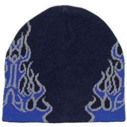 bonnet noir flammes bleu sur le coté rock roll homme femme adulte
