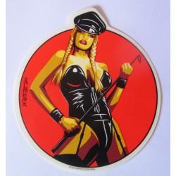 sticker blonde dominatrice avec des nattes  12.5x11 cm autocollant rockabilly