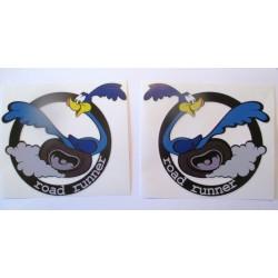 2 stickers road runner droite gauche  mopar 13x11 cm autocollant rockabilly