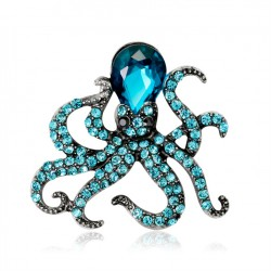 broche poulpe kraken pieuvre strass bleu pin up rock roll