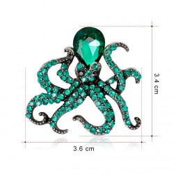 broche poulpe kraken pieuvre strass vert turquoise pin up rock roll