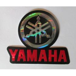 sticker moto yamaha logo metal et rouge 7cm  autocollant avec des reflets métalique
