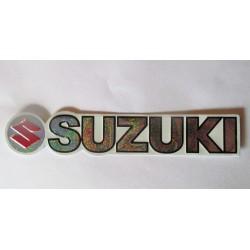 sticker moto suzuki aspect metal 14.5 x2.5 cm  autocollant avec des reflets métalique