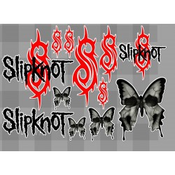 1 planche de stickers groupe de hard rock slipknot decoration auto moto fan musique