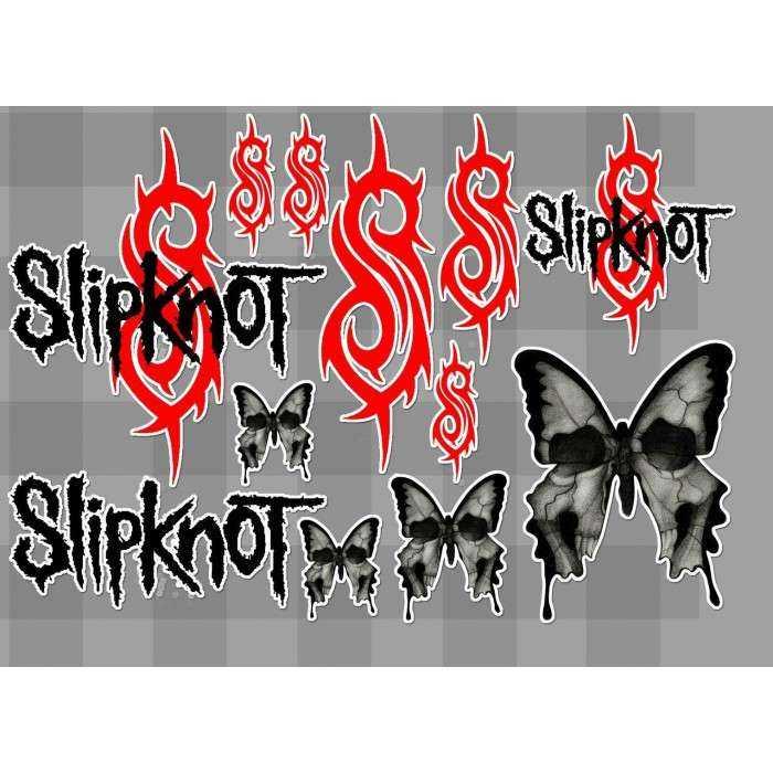 1 planche de stickers groupe de hard rock slipknot decoration auto moto fan musique