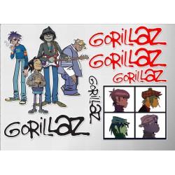 1 planche de stickers groupe de gorillaz decoration auto moto fan musique