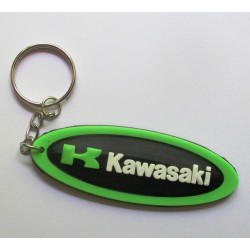 porte clé moto kawasaki oval vert plastique souple sportive
