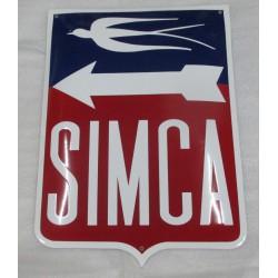 grosse plaque emaillée  simca logo style ancien 55x40 cm cm tole email americaine