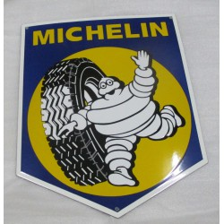 grosse plaque emaillée blason michelin avec pneu 50x40 cm cm tole email americaine