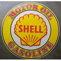 plaque shell motor oil ronde 60cm  gasoline tole deco diner usa bar garage loft