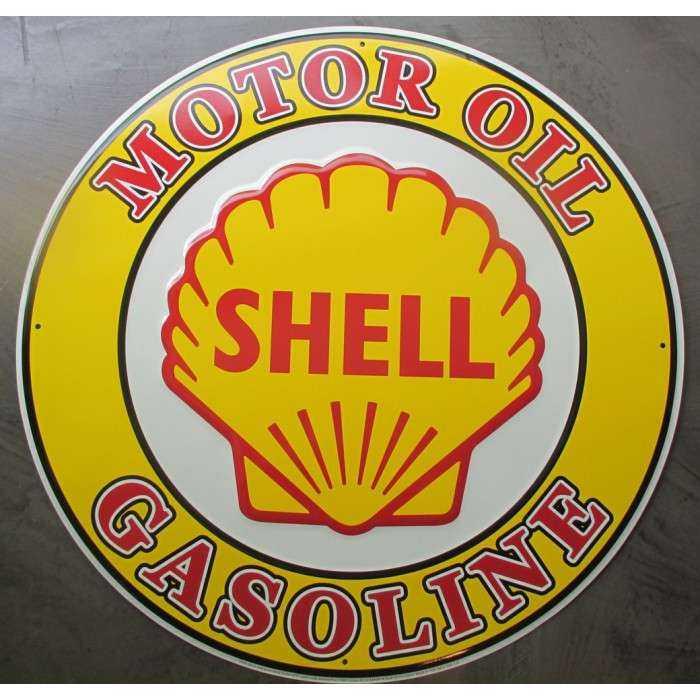 plaque shell motor oil ronde 60cm  gasoline tole deco diner usa bar garage loft