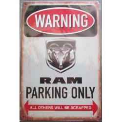 plaque dodge RAM parking affiche pub tole métaldeco garage