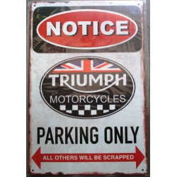 plaque triumph motorcycle parking only 30cm tole métal deco garage loft