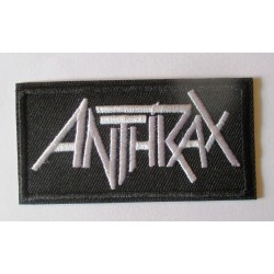 patch groupe anthrax noir et blanc 8x4 cm rouge ecusson thermocollant  hard rock
