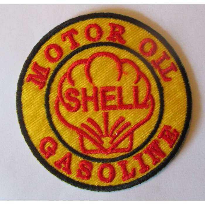 patch shell motor oil gasoline tout jaune ecusson veste blouson huile