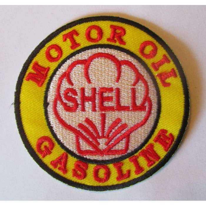 patch shell motor oil gasoline blanc jaune ecusson veste blouson huile