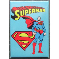 magnet 8x5.5 cm super hero superman fond bleu  deco garage cuisine bar diner loft frigo
