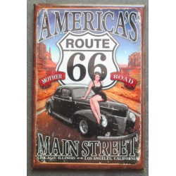 magnet 8x5.5 cm americas route 66 pin up et hot rod noir deco garage cuisine bar diner loft frigo