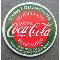 magnet 7.5 cm coca cola rond vert style ancien deco cuisine bar diner loft frigo
