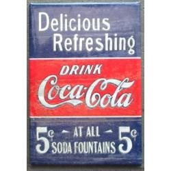 magnet 8x5.5 cm coca cola  bleu delicious & refreshing deco garage cuisine bar diner loft frigo
