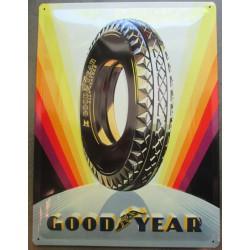 plaque good year pneu arc en ciel tole bombée 40cm pub garage