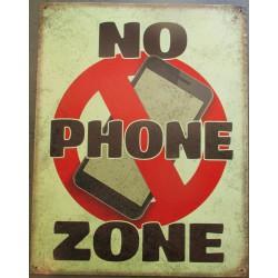 plaque no phone zone 41x32 cm deco garage  restaurant..affiche metal