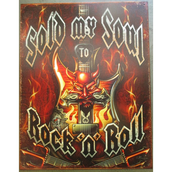 plaque sold my soul to rock & roll 41x32 cm deco garage affiche metal groupe musique